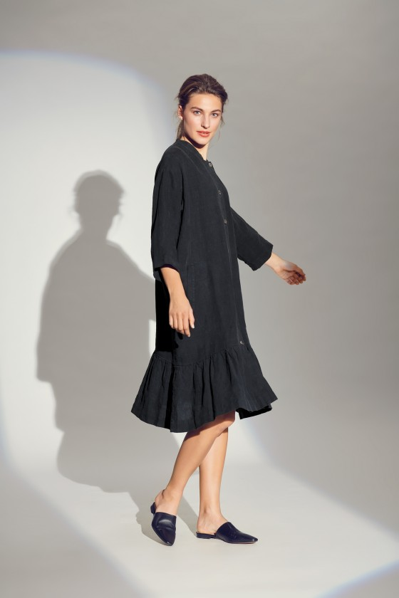 LAZY LINEN DRESS WITH COLLAR