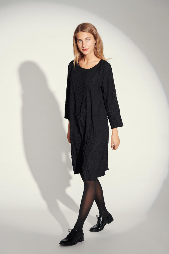 CREASED COTTON MIX DRESS