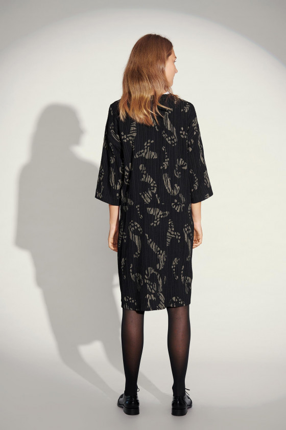 BROKEN STROKES 3/4 SLEEVE DRESS