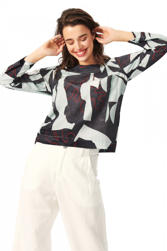 MONSTERA BLOUSE WITH ROUND NECK